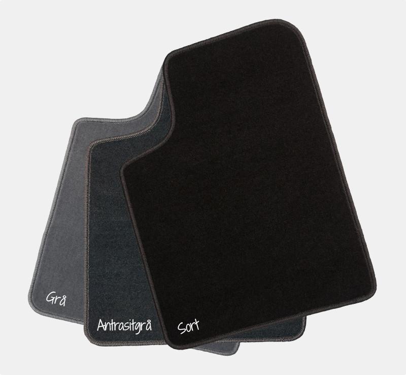 Universalmåtter i velour - sæt med 4 måtter - inkl. plasthæleplade